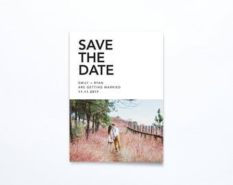 Save the Date Photo Invitation - Modern Minimal - Printable DIGITAL FILE
