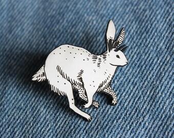 Jackalope Rabbit Pin, black and white, laser cut acrylic