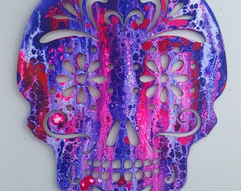 Fluid Acrylic Abstract Sugar Skull 18 x 22 - white, purple, pink