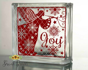 Angel joy decal - DIY Christmas crafts to make - Vinyl decals for Christmas - Christmas decals for glass blocks - BLUE89