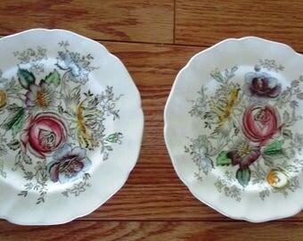 "2 Johnson Bros Ironstone Sheraton Pattern 6 1/4"" Dessert Plates"