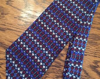 Vintage Necktie J. Garcia Stripe Deco Maroon Blue Gray Silk Men Tie Necktie