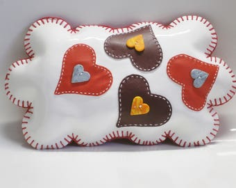 Original coussin deco !!THE LOVE CLOUD!! en simili cuir blanc 29cm x 17cm belicious-delicious-creation