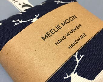 Microwaveable Navy Stag Fabric Wheat & Lavender Hand warmers. Re-useable, natural, eco-friendly. Made In Cornwall.