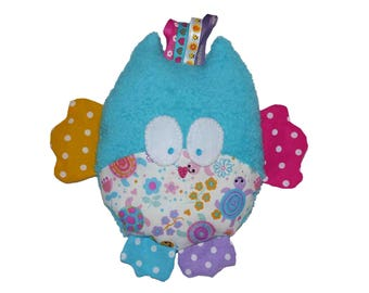Plush OWL or mini pillow turtles pattern turquoise plush rattle noise