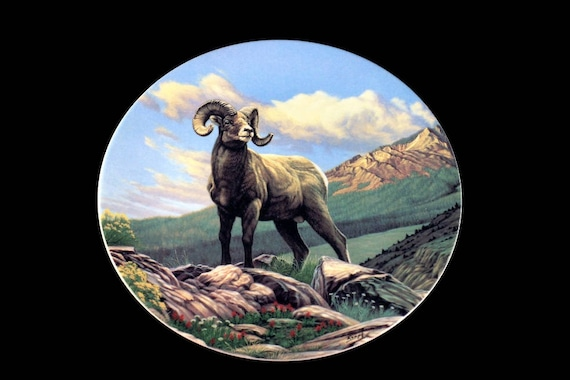 1989 Collectible Plate, Dominion China, Canada's Big Game Collection, The Bighorn Sheep, Limited Edition, Decorative Plate, New In Box