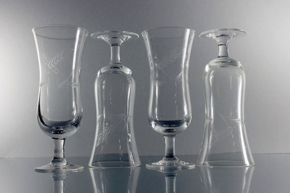 Etched Glass Parfait Glasses, Champagne Glasses, Cocktail Glasses, Set of 4, Wheat Pattern, Barware
