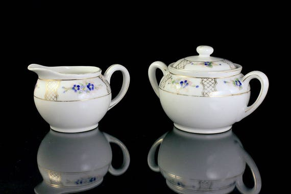 Antique Sugar Bowl and Creamer, Nippon, Sunrise Mark, Hand Painted, Blue Floral, Gold Trimmed