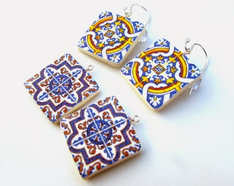 Azulejos Portugueses Earrings - Interchangeable Earrings - Handcrafted Portuguese Tile Earrings - Made in Australia - Sterling Silver