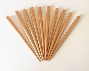 """Gold Hair Sticks Shawl Pins, Wood Hair Sticks, 4 1/2"""" Small Square-10pc"""