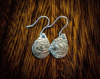 Sterling silver texrured teardrop earrings