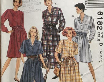 1992 McCall's Button Up Dress w/ Round or Shawl Collar, Patch & Side Seam Pockets sz 12 14 16 #6182