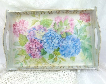 Large White Shabby Chic Hydrangea Serving Tray With Handles