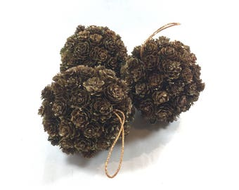 Pinecone Balls Ornaments Kissing Balls Rustic Wedding Decor Gold Bling Mini Pinecones Vintage Christmas