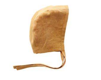 Mustard Linen Bonnet