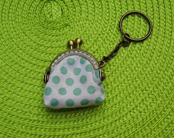 Mini coin purse with green dots, key chain