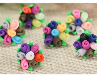 set of 3 cabochons form fimo mini bouquet