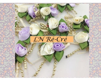 satin ribbon flowers and Golden beads (purple and white)