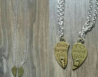 Steampunk love couple heart necklaces