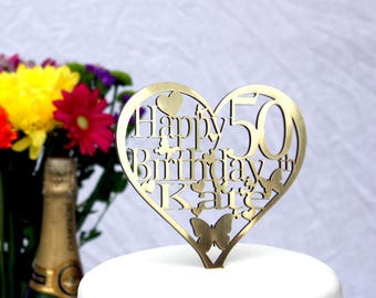 Birthday Cake Topper Heart Shaped Decoration-Personalise with ANY Name and Age 1st,18th,21st,30th,40th,50th,60th,70th,80th,100th,25th,38th