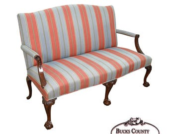 Kindel Chippendale Style Ball U0026 Claw Foot Mahogany Settee