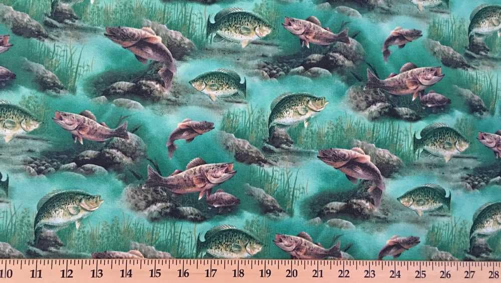 Fishing fabric fish fabric by the yard hy bass aquatic for Fish fabric by the yard