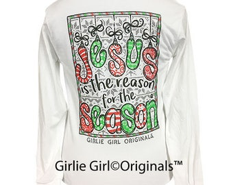 Girlie Girl Originals Jesus Is The Reason-Christmas White Long Sleeve T-Shirt