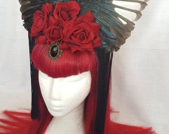 Magpie wings red roses jewel  show stopper gothic burlesque fascinator