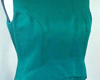 summer sale Vintage 50s 60s fitted dress by Cresta  pencil wiggle dress emerald teal green size medium