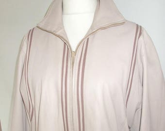 summer sale Vintage leather jacket 80s Taupe Leather  jacket size XL extra large