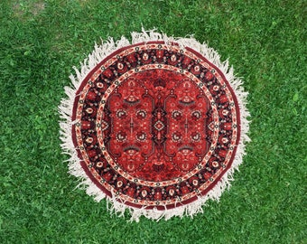 "Vintage Persian Style Round Rug. 44"" Diameter. Vibrant Bohemian Home Decor"