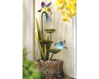 Hummingbird Garden Haven LED Lighted Water Fountain
