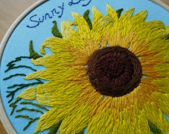 Free shipping ,Sunflower hoop, embroidery hoop, sunflower embroidery, gift , present, wall decor