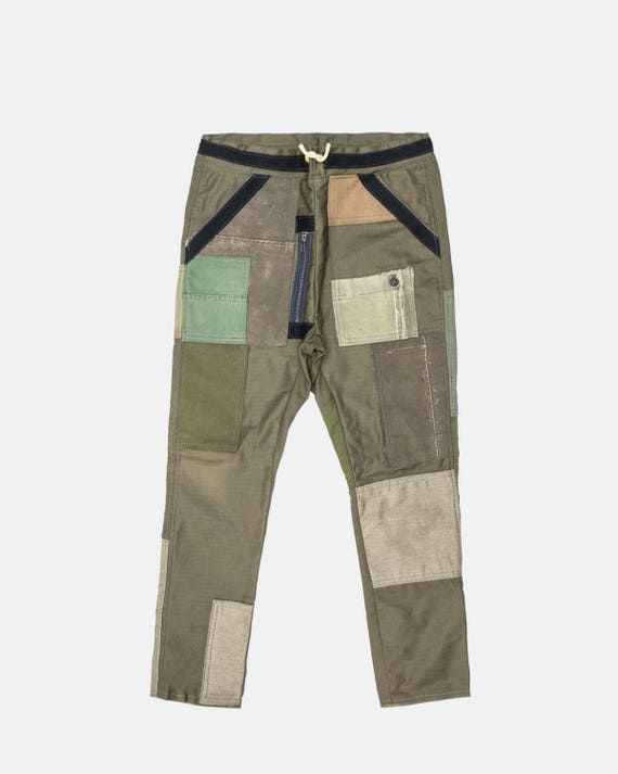 Military green patch work pant