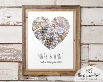Customized Heart Map Art Printable, Five Piece Map, Custom Personalized Printable, DIGITAL FILE Wedding decor, Marriage, love