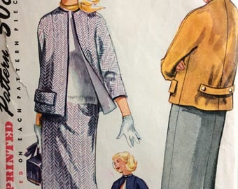 Simplicity 4171 junior misses suit jacket and skirt size 13 bust 31 vintage 1950's sewing pattern