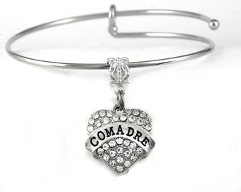 Comadre Bracelet  Comadre Jewelry  crystal heart style Comadre Gift  Godmother of ones child