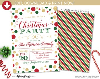 Christmas Party Invitation, Christmas Party Invite, Christmas Party Printable, Holiday Party DIY Edit Templett Printable