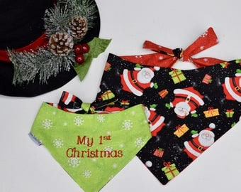 My 1st Christmas Santa Snowflakes Dog Bandana || Personalized Reversible Holiday Pet Scarf || Custom Puppy Gift by Three Spoiled Dogs