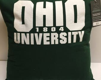 1804 Athens, Ohio university tshirt Pillow 16x16 Upcycled One of a Kind