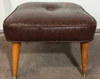 Vintage Foot Stool/Vintage Furniture/Foot Rest/Brown Foot Stool/Foot Stool/Brown Stool