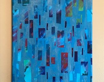 Colorful Rain - 11x14 Acrylic Painting on Canvas