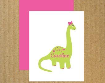 Girl Dinosaur Note Cards, Set of 10, Dinosaur Note Cards, Girl Dinosaur, Thank You Cards, Girl Dinosaur Birthday, Birthday Thank You Cards
