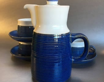 Denby Chatsworth Blue Coffee Pot, Cups and Saucers Stoneware Vintage Mid Century