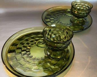 2 Emerald Green Cubist Depression Glass Snack Plate Sets Vintage