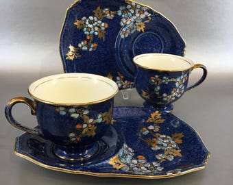 1 of 2 Royal Winton Grimwades Blue Bone China Snack Plates and Teacups Art Deco