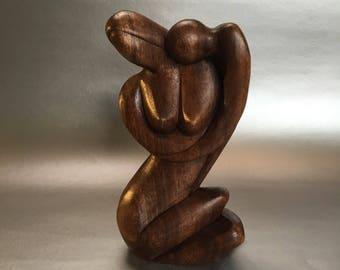 """8"""" Mid Century Couple Teak Figure Wood Carving Figurine"""