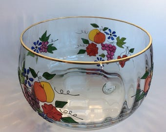 Large & Flawless Hand Painted Crystal Candy, Centerpiece or Fruit Bowl