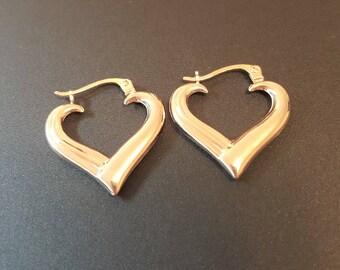 Heart Hoop 14k Gold Earrings, Real Gold Heart Earrings, Vintage 14k Yellow Gold Earrings