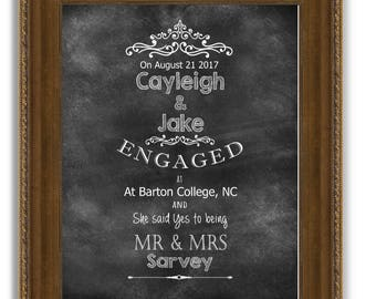 Framed Personalized Engagement gift Engagement gifts for couples Gifts for couples Engagement Present